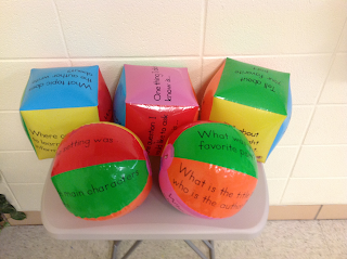 I use comprehension cubes and balls to build comprehension skills.