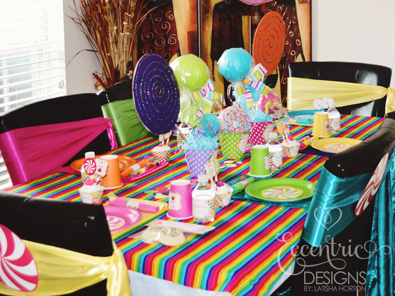 Eccentric designs by latisha horton real party rainbow candyland party - Candyland party table decorations ...