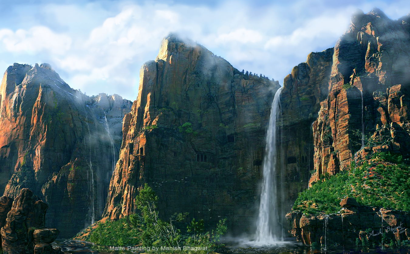 Manish bhagwat digital matte painting mountain waterfall digital matte painting mountain waterfall altavistaventures Images