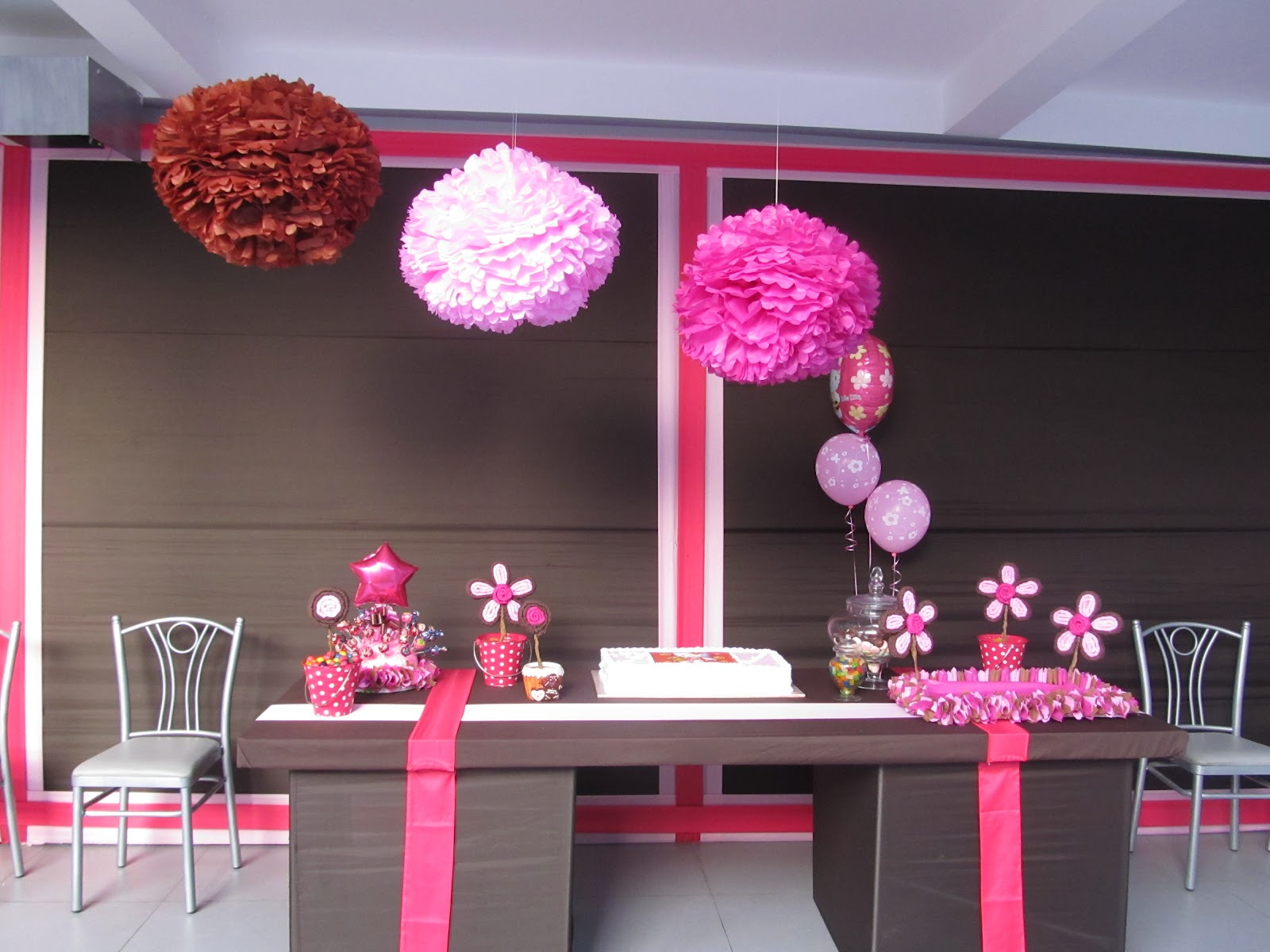 Sweet party fiesta de ni a decoraci n rosa y marr n - Decoracion fiesta rosa ...