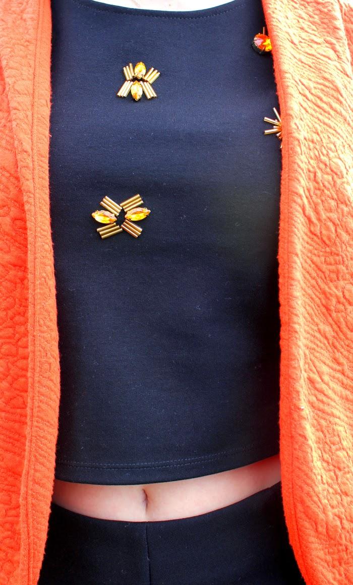 orange blazer, crop top, fashion blog, fashion blogger, primark, opening, paris, o'parinor