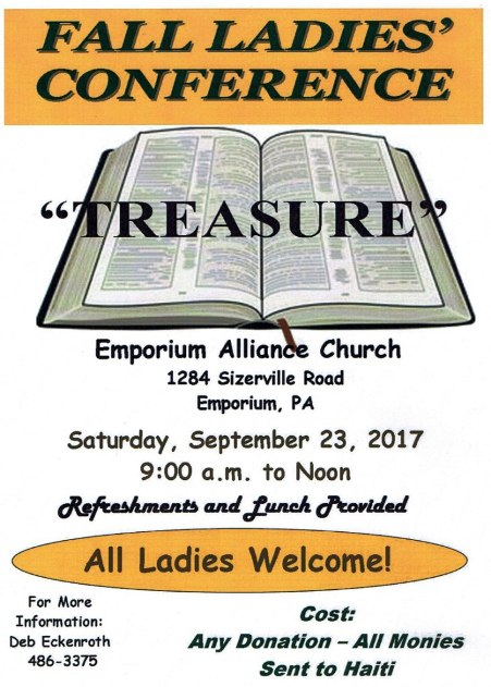 9-23 Fall Ladies Conference, Emporium, PA
