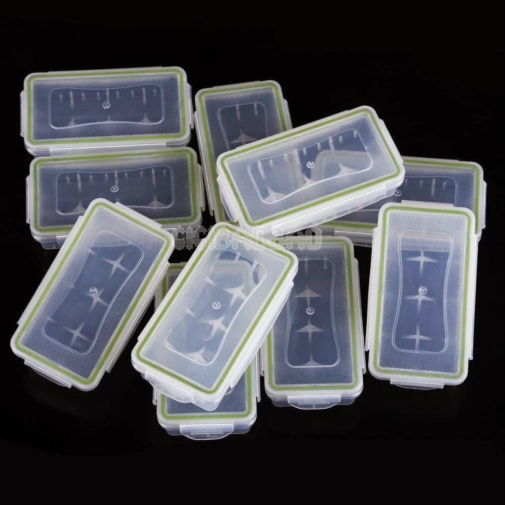 #gib Lot 10 White Hard Plastic Case Holder Storage Box for 18650 16430 Battery