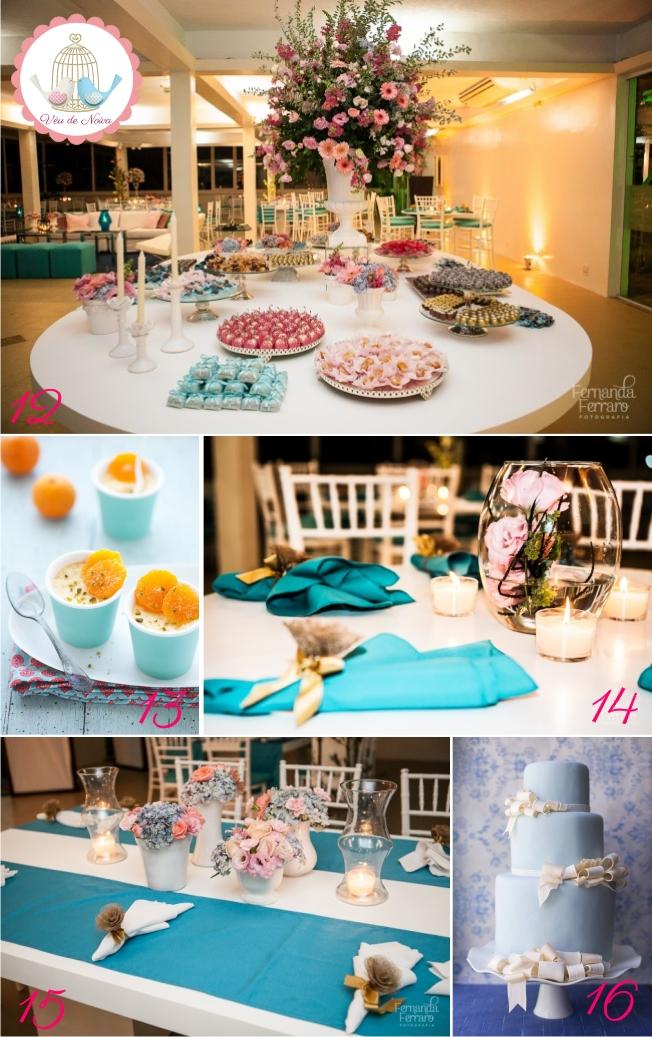 Decoração de Casamento Azul, Rosa, Amarelo e Branco