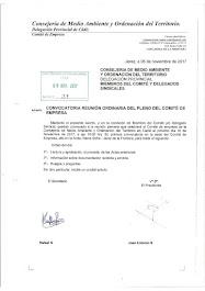 Convocatoria de reunión ordinaria del pleno del Comité de Empresa para el 10/11/2017