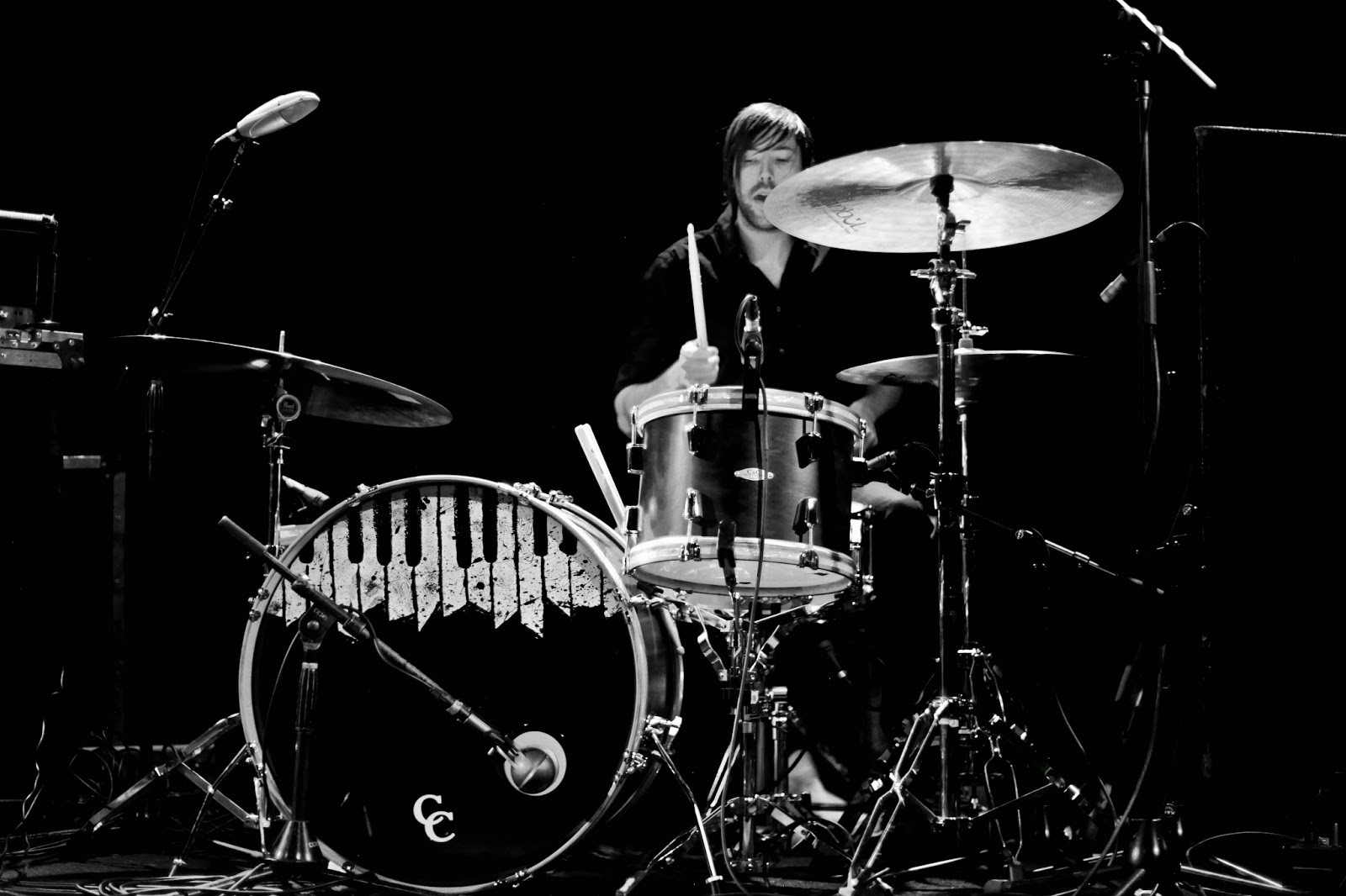 The drummer for Cursive playing drums during the 2/10/15 show at Bluebird Theater.