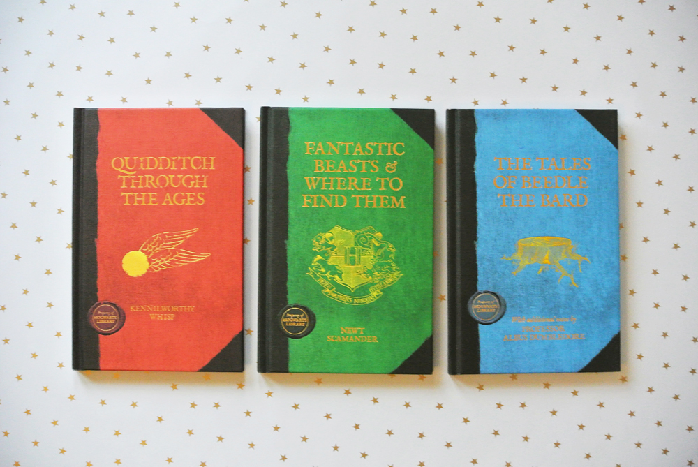Hogwarts Library - Quidditch Through the Ages, Fantastic Beasts and where to find them, THe Tales of Beedle the Bard