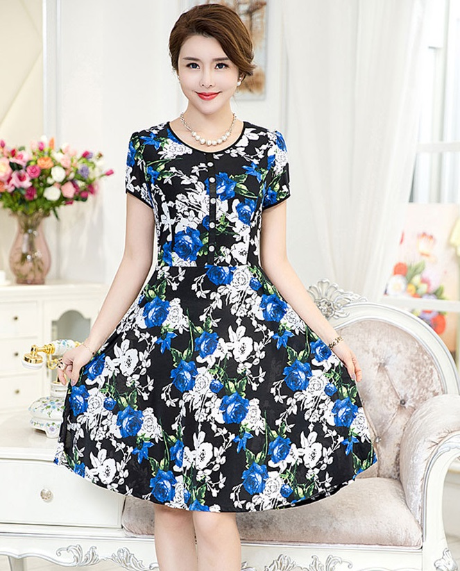 New 2017 Short Sleeve Front Line Button Floral Flare Dress