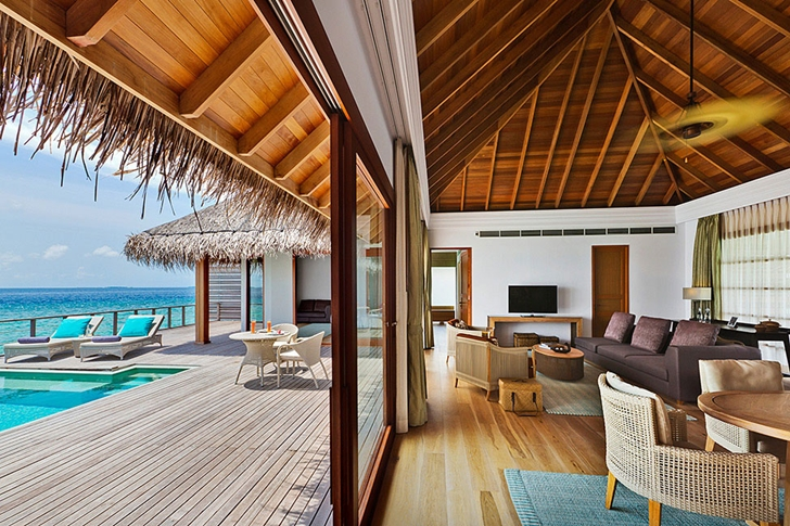 Living room and wooden deck in Luxury Dusit Thani Resort in Maldives