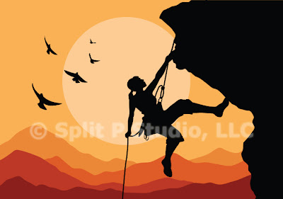 mountain climbing vector art, female mountain climber