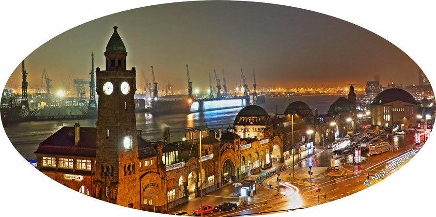 Hamburg bei Nacht,  Hafen und Landungsbrücken