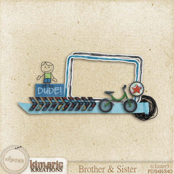 "Free scrapbook ""Brother and Sister cluster"" from Kimeric Creations"