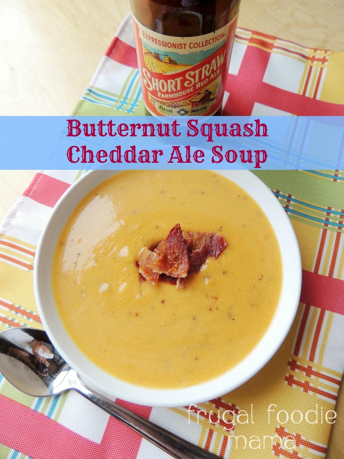 Butternut Squash Cheddar Ale Soup via thefrugalfoodiemama.com - a pub ...