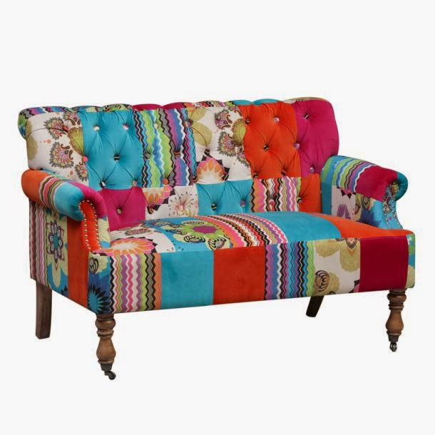 ACHICA Patchwork Large 2 Seater Sofa