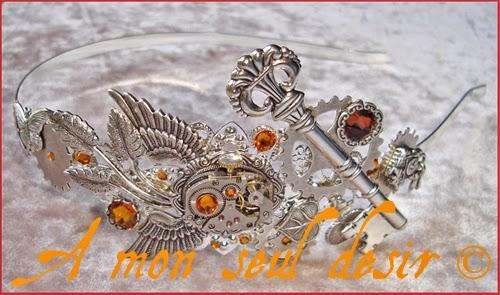 Serre-tête Steampunk Bijouterie Mouvement de montre Mécanisme Rouages Sunshine Headband Headdress ClockWork Watch Work Jewelry