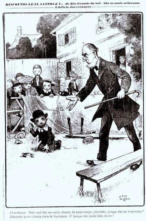 Propaganda dos Biscoitos Santos Leal, veiculada em 1908: uso de ilustração com bom humor.