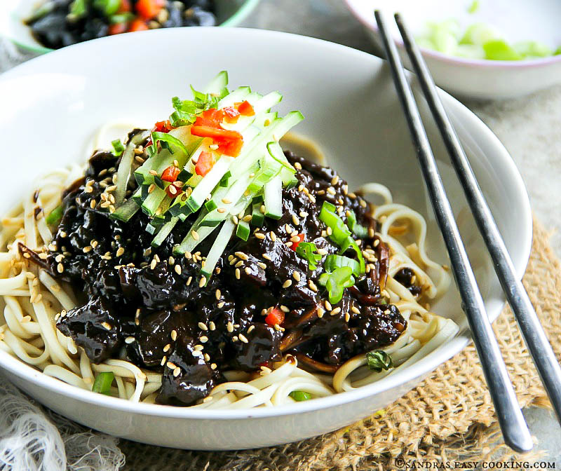 Black bean noodles jjajangmyeon sandras easy cooking forumfinder Choice Image