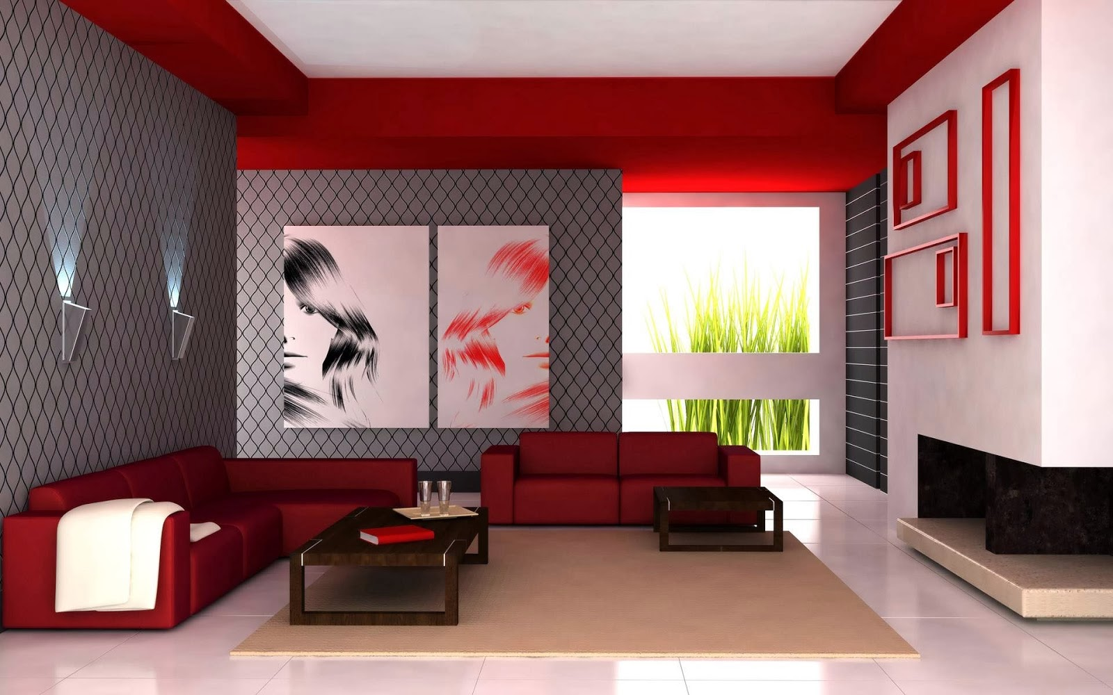 Beautiful modern living room furniture set in dark red color