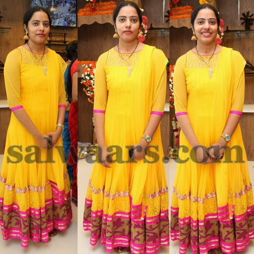 Printed Long Salwar in Yellow