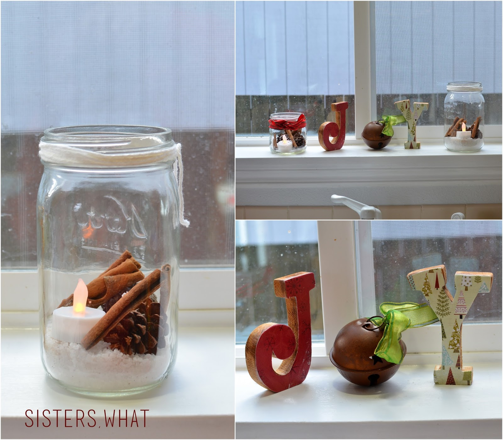 pine cones, cinnamon sticks and epson salts in mason jars