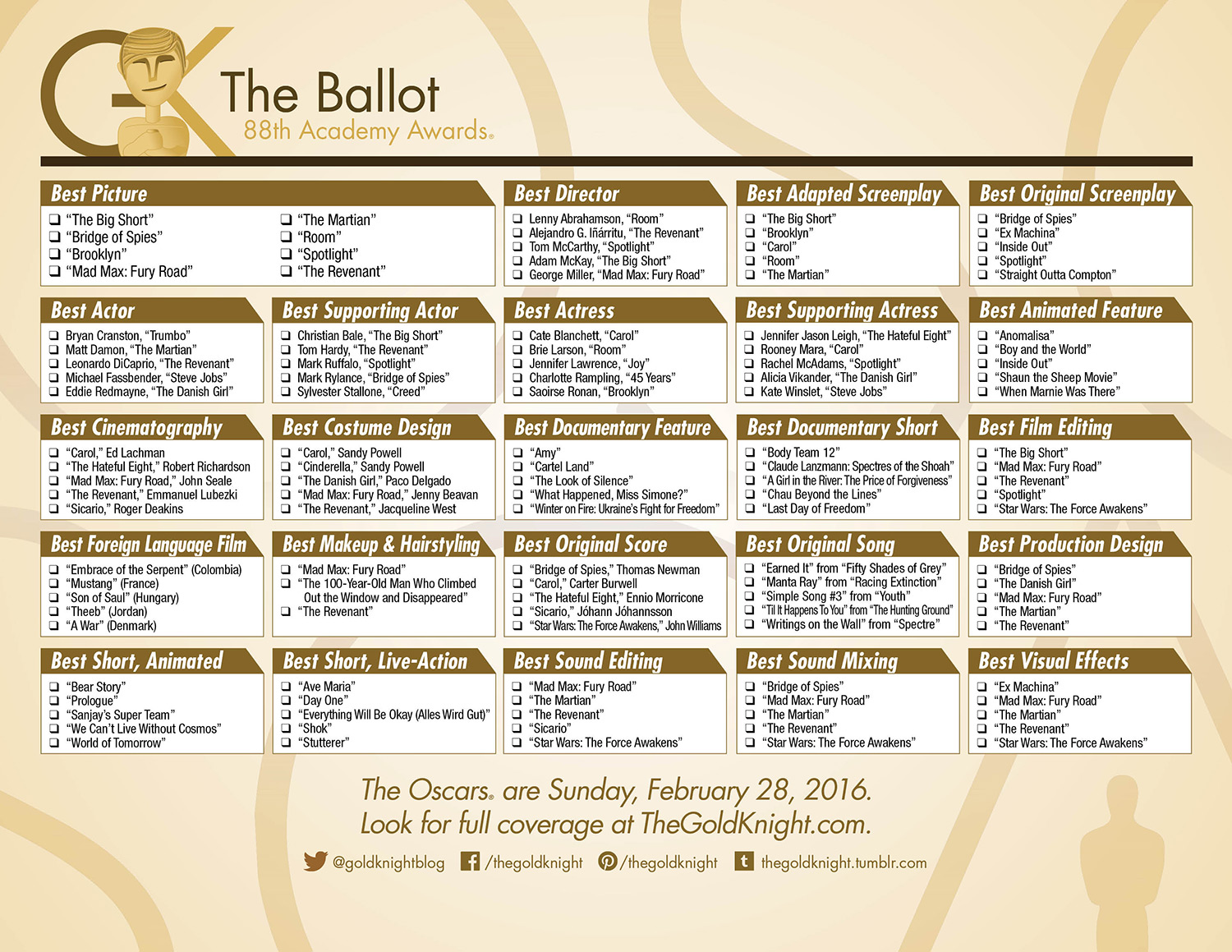 Oscars 2016 Download Our Printable Movie Checklist The ...