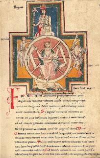 Imagen con una ilustración de la rueda de Carmina Burana manuscrito encontrado en Benediktbeuern (Alemania) en el siglo XIX.