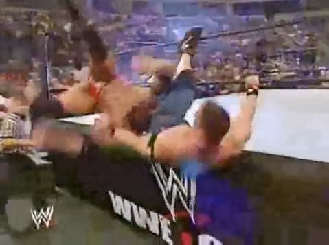Batista John Cena 2005 Royal Rumble finish double elimination botch