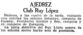 Recorte de La Vanguardia sobre el Torneo Nacional de Ajedrez Barcelona 1926, 2/10/1926