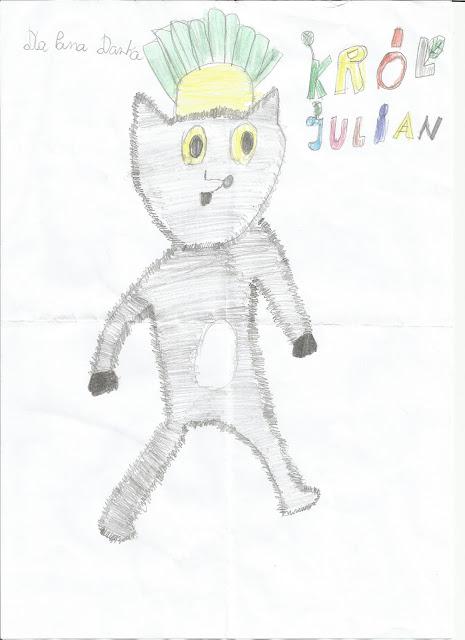 """Kolejny rysunek Mojej Małej Ewy pt. """"Król Julian"""""""
