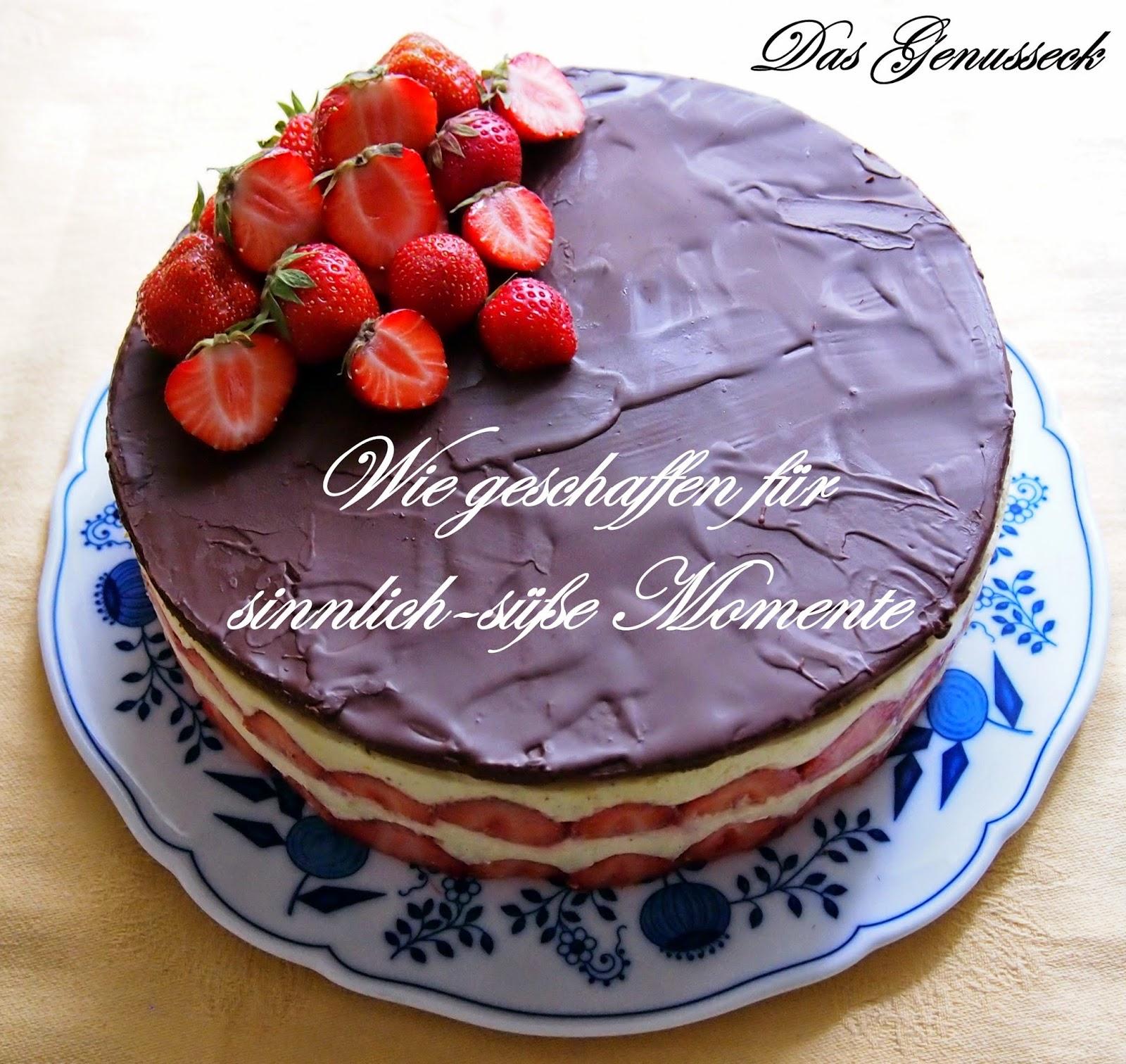 Das Genusseck Erdbeer Vanille Torte Mit Schokoladen Marzipan Decke