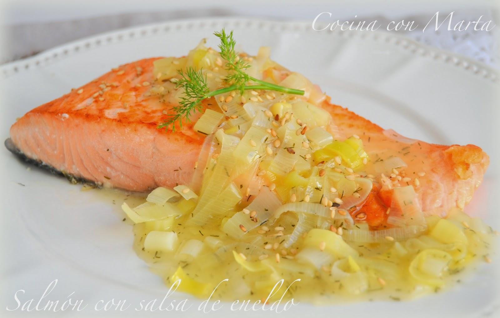 Lomos de salm n con salsa al eneldo - Salmon con champinones ...
