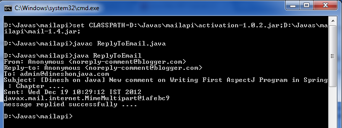Replying email in Java Mail API