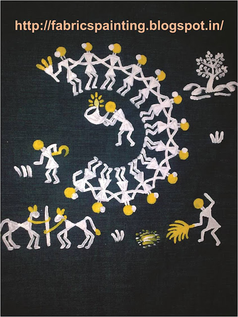 This is a warli painting on fabric which I have painted