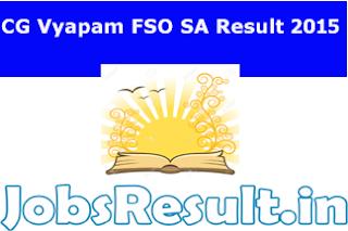 CG Vyapam FSO SA Result 2015
