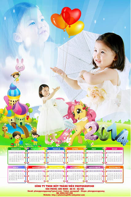 PSD lịch Tết baby 2014