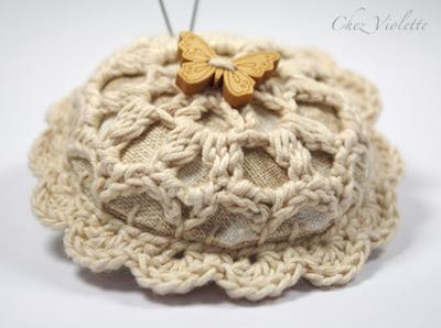 crochet doily Pincushion - by Chez Violette