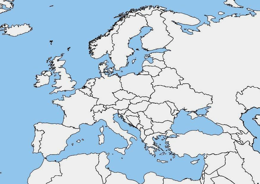 Mapa De Europa Politico En Blanco