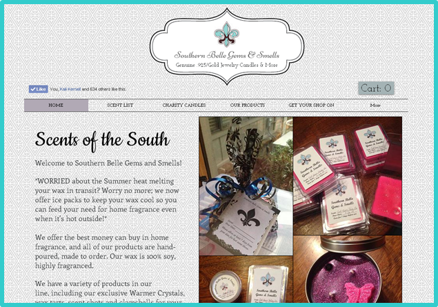 Southern Belle Gems and Smells website