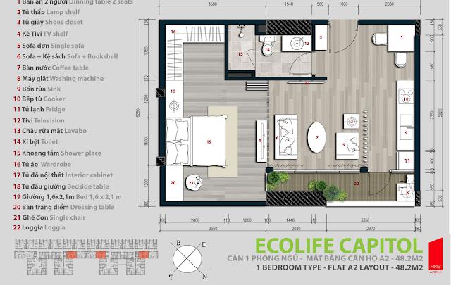 Căn hộ 48,2m2 - Ecolife Capitol