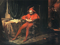 Polish court jester Stańczyk sitting sad and dejected