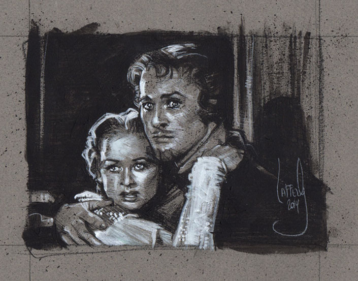 Errol Flynn & Olivia de Havilland, Artwork Copyright © 2014 Jeff Lafferty