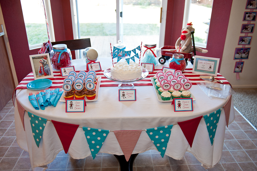 PARTY} Blue & Red Sock Monkey 1st Birthday | Life & Baby | Baby ...