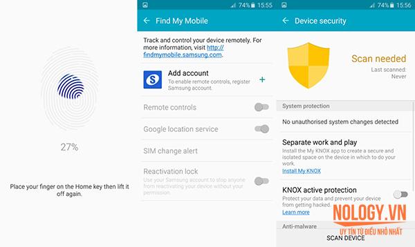 Bảo mật vân tay trên Samsung S6 Docomo