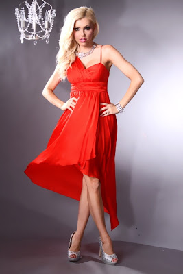 RED ORANGE SWEETHEART NECK ONE CHIFFON STRAP ASYMMETRICAL PROM DRESS