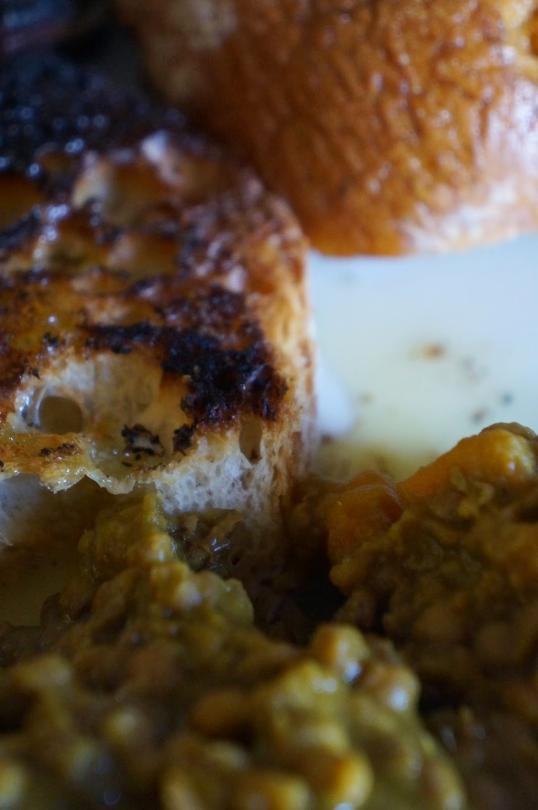 curry lentils and oil and garlic bruschetta