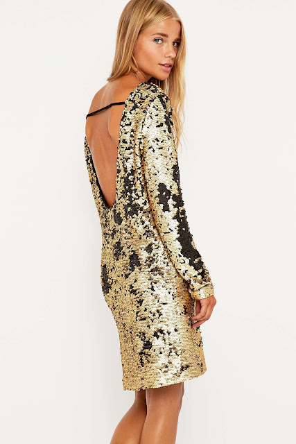 minkpink sequin dress, low back sequin dress, gold sequin dress,