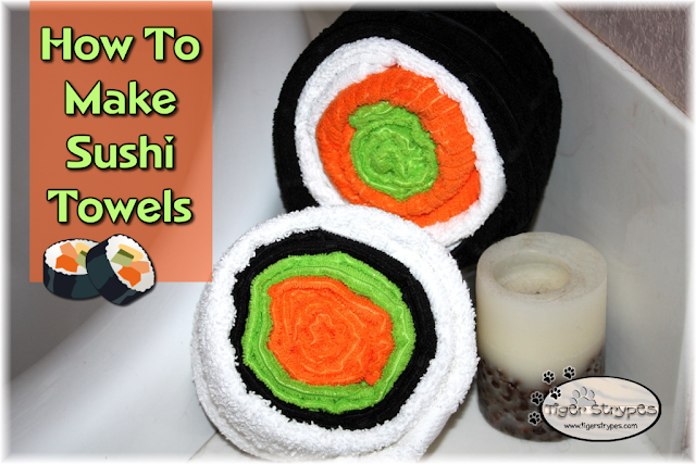 How To Make Sushi Towels from Tiger Strypes Week 37 Featured Post