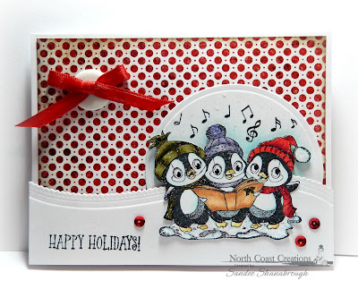 North Coast Creations Stamp set: Caroling Penguins, Our Daily Bread Designs Custom Dies: Matting Circles, Leafy Edged Borders, Our Daily Bread Designs Paper Collection: Patriotic
