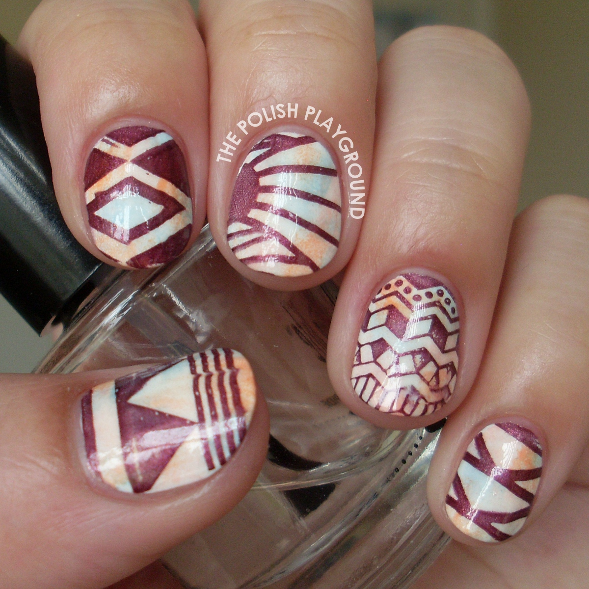 Soft Sponged Colors with Tribal Print Stamping Nail Art