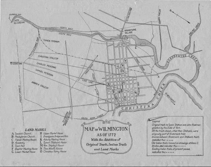 Delaware Colonial Map of Wilmington 1772.